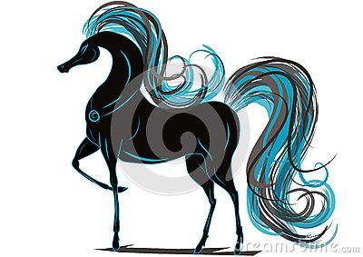Paard met blauwe manen