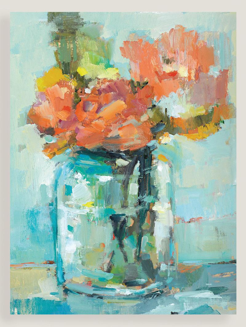 Bright coralcolored flowers lend a lively touch to the cool blue