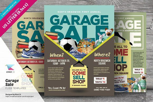 Garage Sale Flyer Templates by kinzi21 on @creativemarket Awesome
