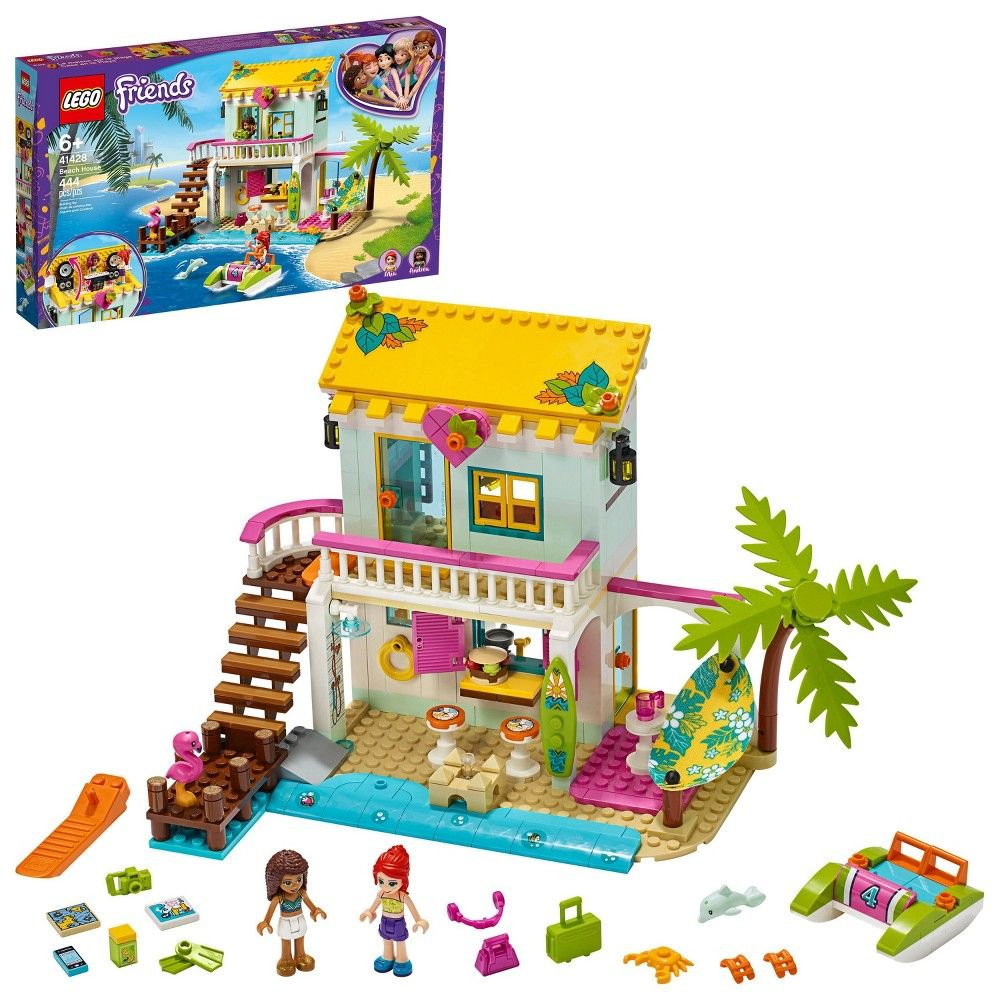 Lego Friends Beach House Comes With Andrea And Mia Mini Dolls And A Cool Summer House 41428 In 2020 Lego Friends Lego Friends Party Building Toys For Kids