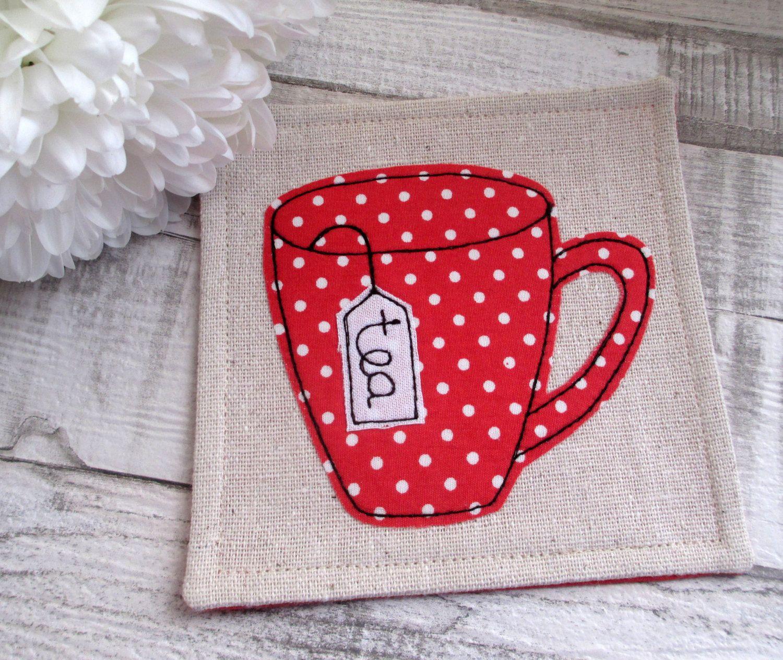 Red and White Polka Dot Mug Coaster - Fabric Drinks Coasters ...