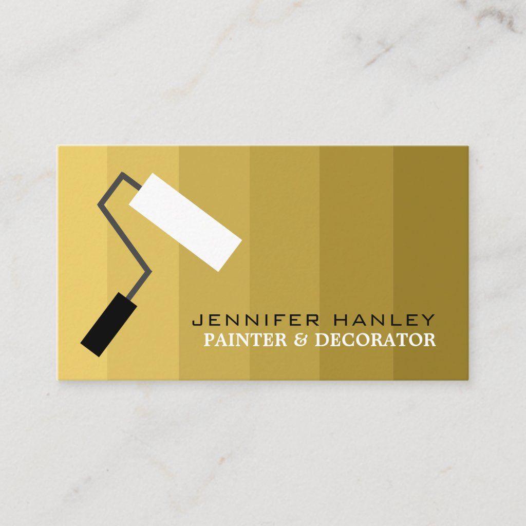 Gold Ombre Paint Roller Painter Decorator Business Card Zazzle Com Decorator Business Card Painter And Decorator Ombre Paint
