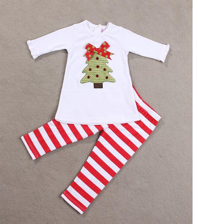 02341c30c 1-5 years old Baby Christmas clothing set Christmas tree tops+ ...