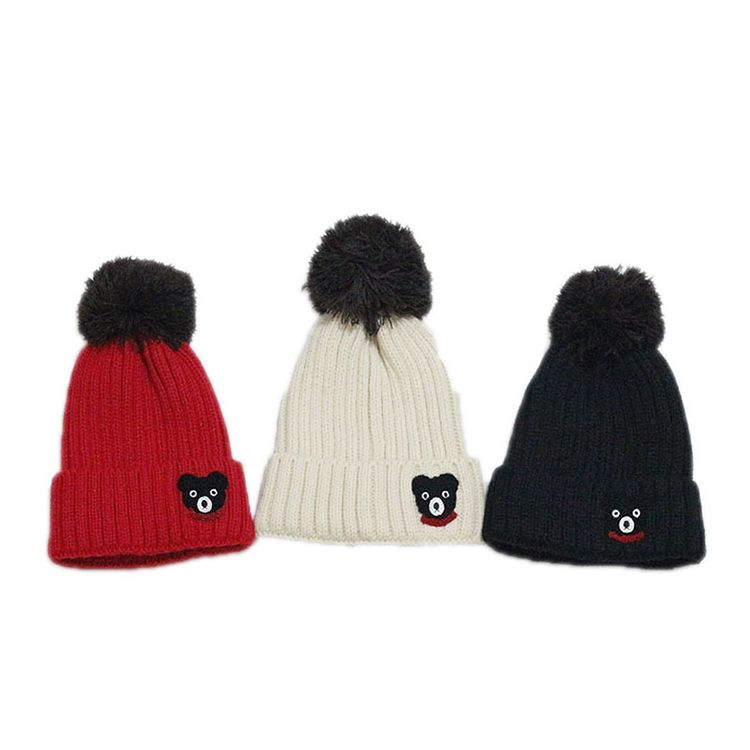 fbd9e6d7 Custom three-tone pom pom winter hat knitted beanies with logo embroidery