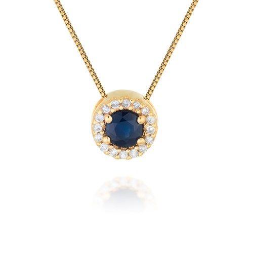 a179c220e9fd8 Pingente em ouro amarelo 18k, 6,4 pts de diamantes e 1 safira. Joias ...