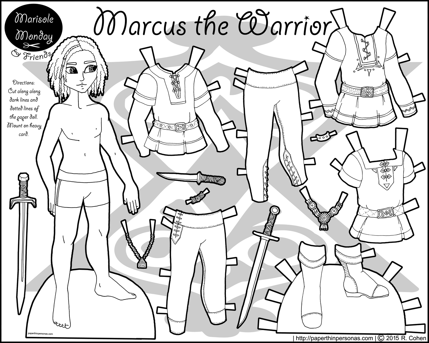 Marcus As A Warrior A Paper Doll For Coloring Paper Dolls Paper Dolls Clothing Free Printable Paper Dolls