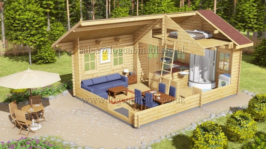 44 mm Nottingham 4,5 x 6 m log cabin Cabin loft, Guest