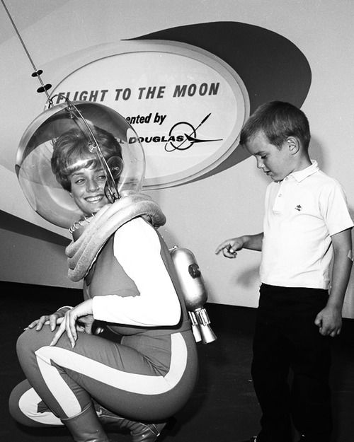 Publicity photo for the Flight to the Moon attraction at Disneyland, 1967(x)