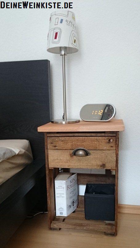 Selbstgebauter Nachttisch Aus Weinkiste Mit Anti Holzwurm