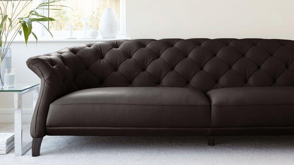 Chesterfield sofa modern grau  Luxe Modern 2 to 3 Seater Leather Chesterfield Sofa | Leather ...