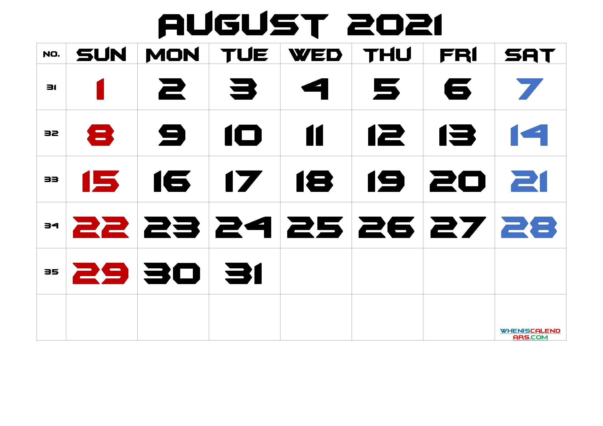 Free Printable August 2021 Calendar Premium In 2020 Calendar Printables Printable Calendar 2021 Calendar