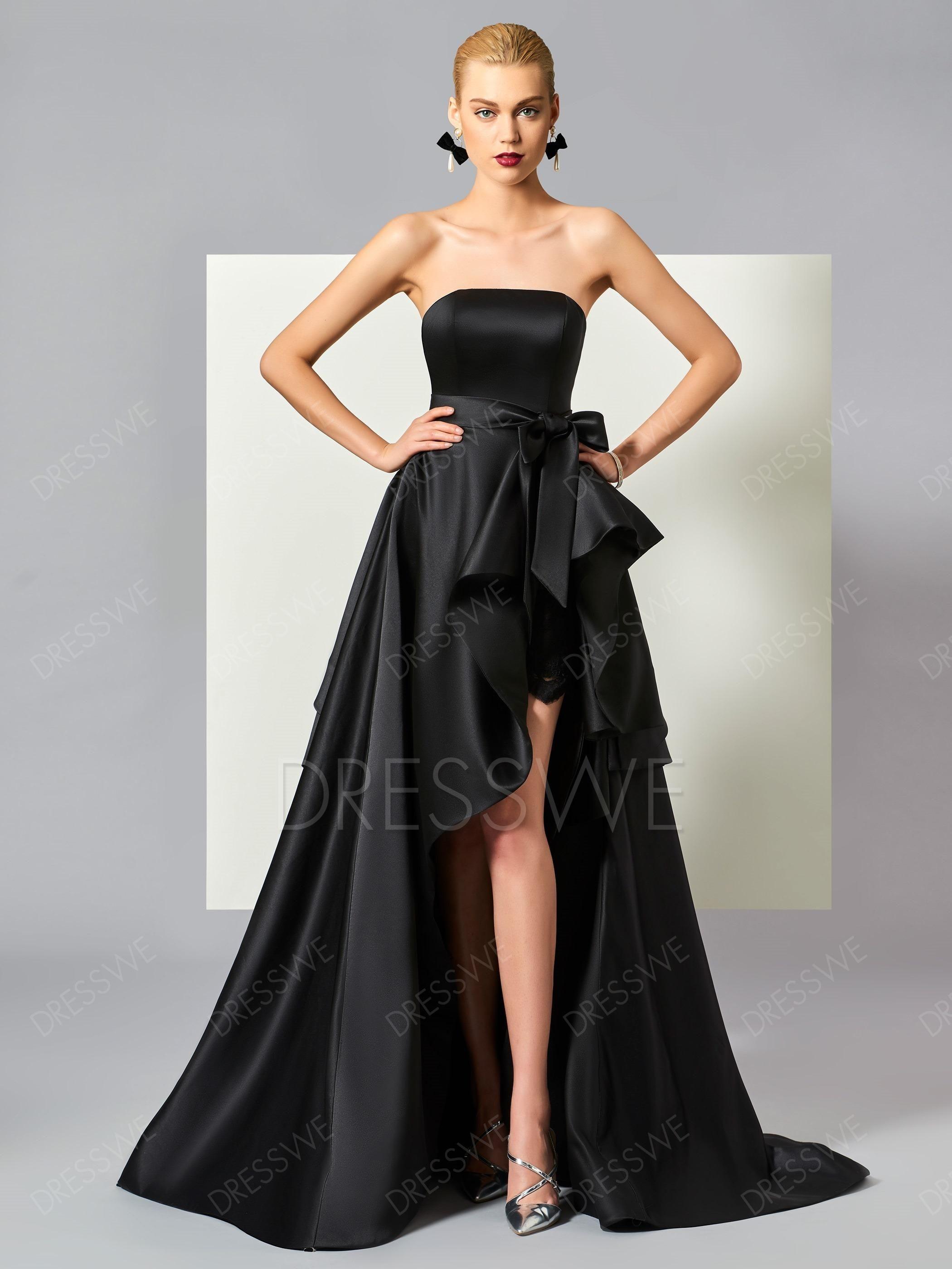 Stylish a line high low strapless ruffles asymmetry evening dress