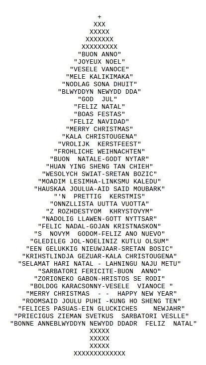 One Line Ascii Art Emoji : Ascii art christmas tree drawn with typed characters
