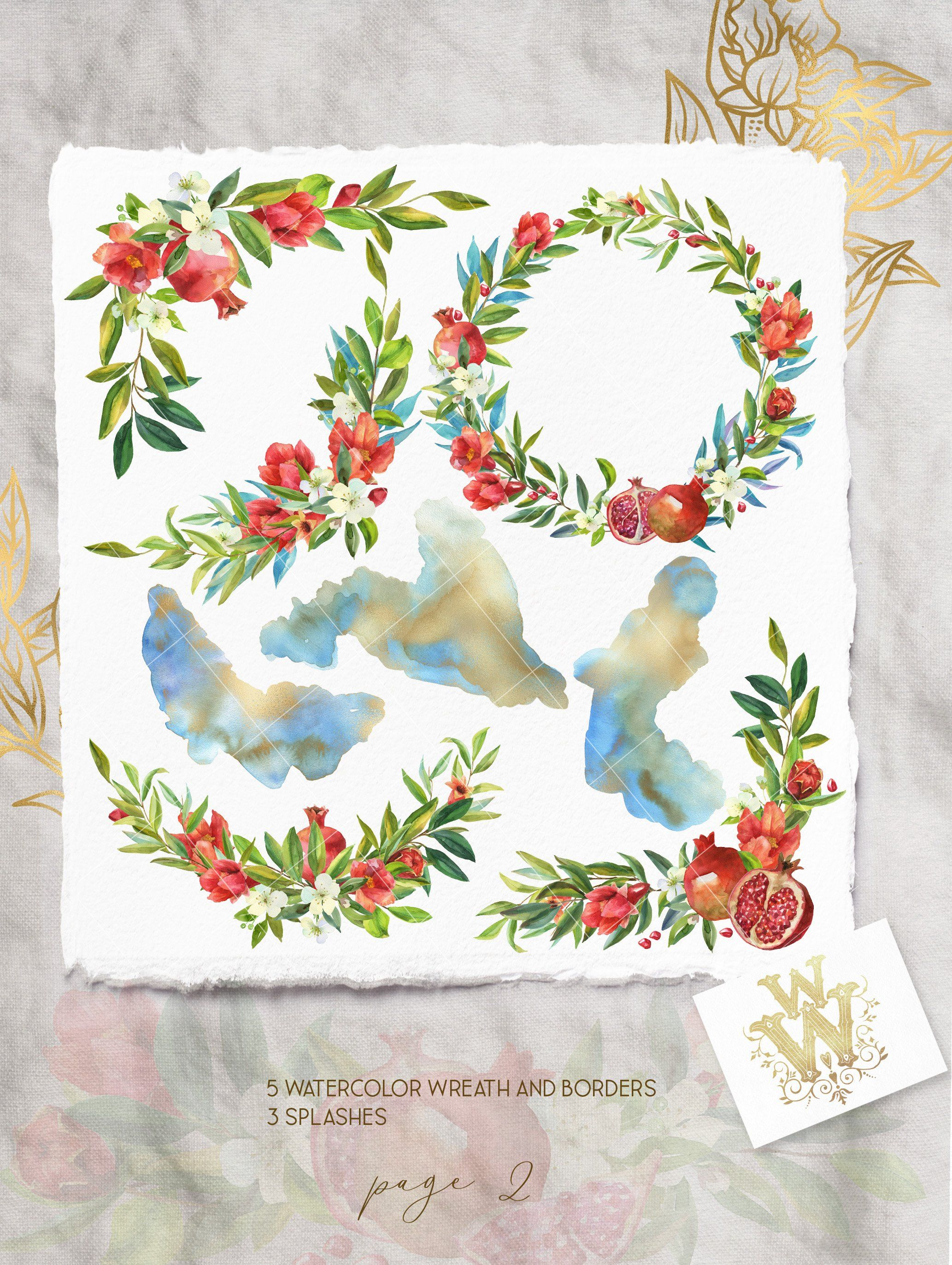 Watercolor pomegranate floral border