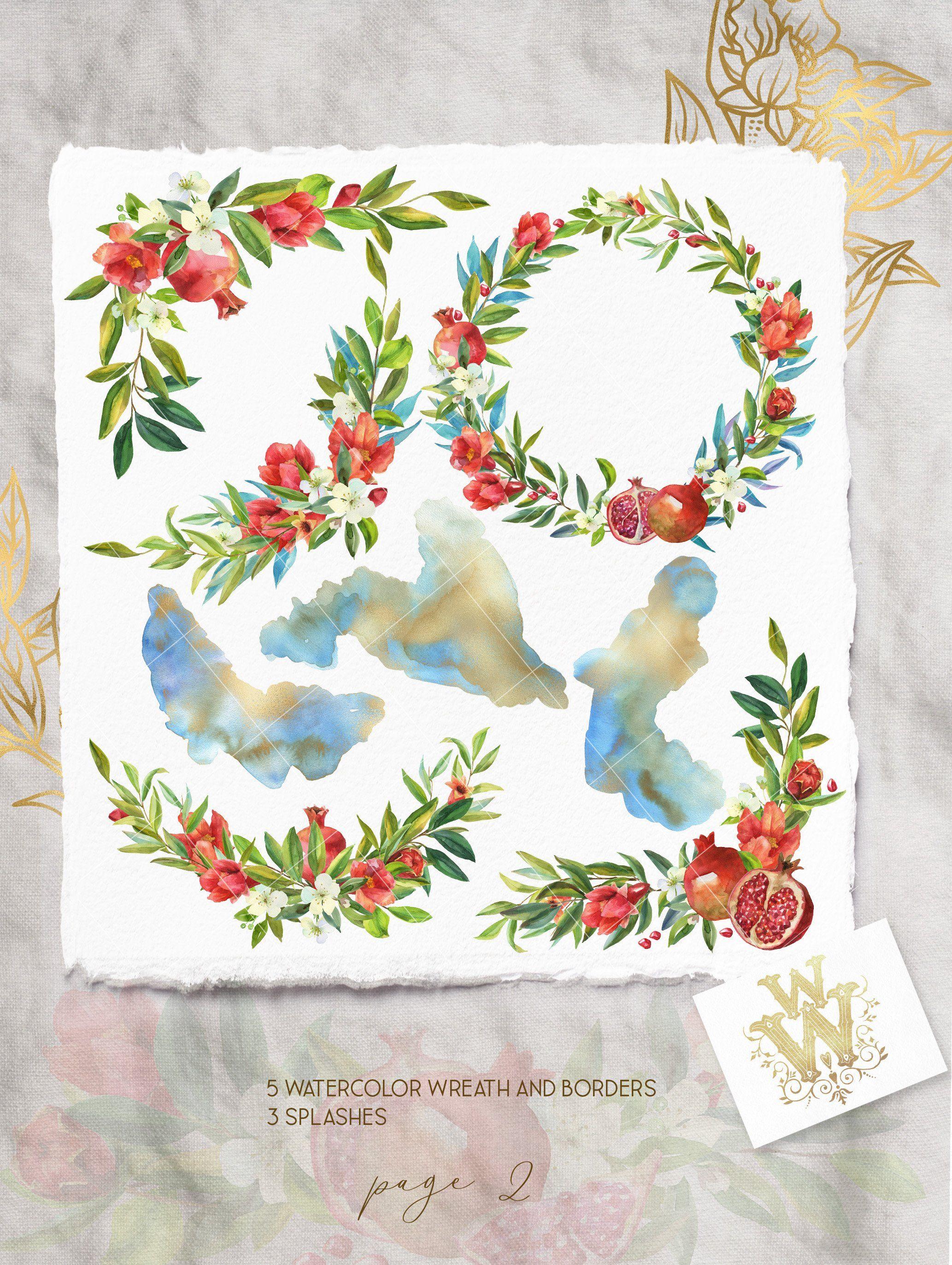 Watercolor pomegranate floral border