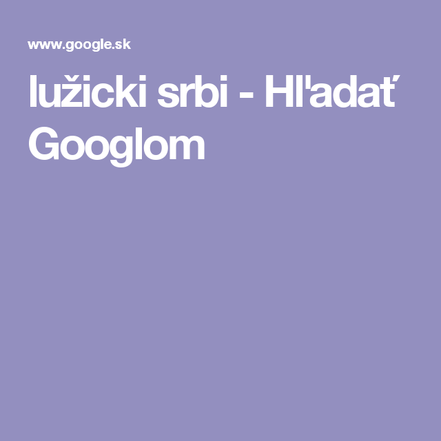 lužicki srbi - Hľadať Googlom