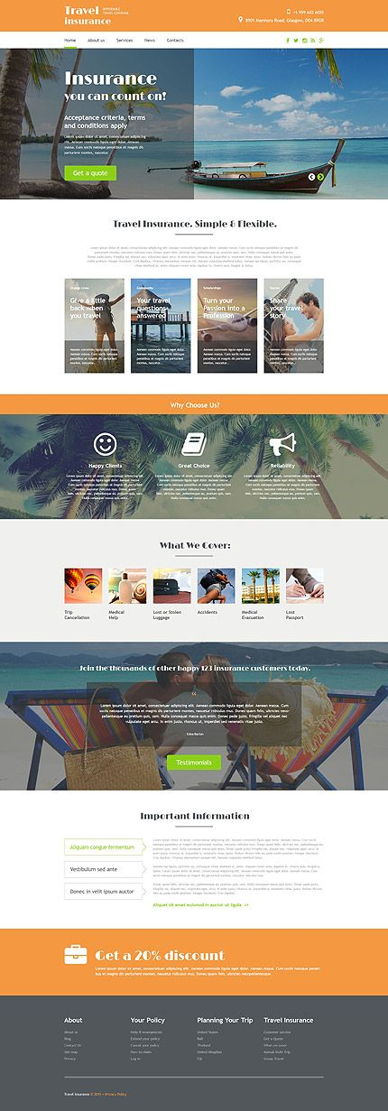 Travel Insurance #website #template #themes #business #responsive