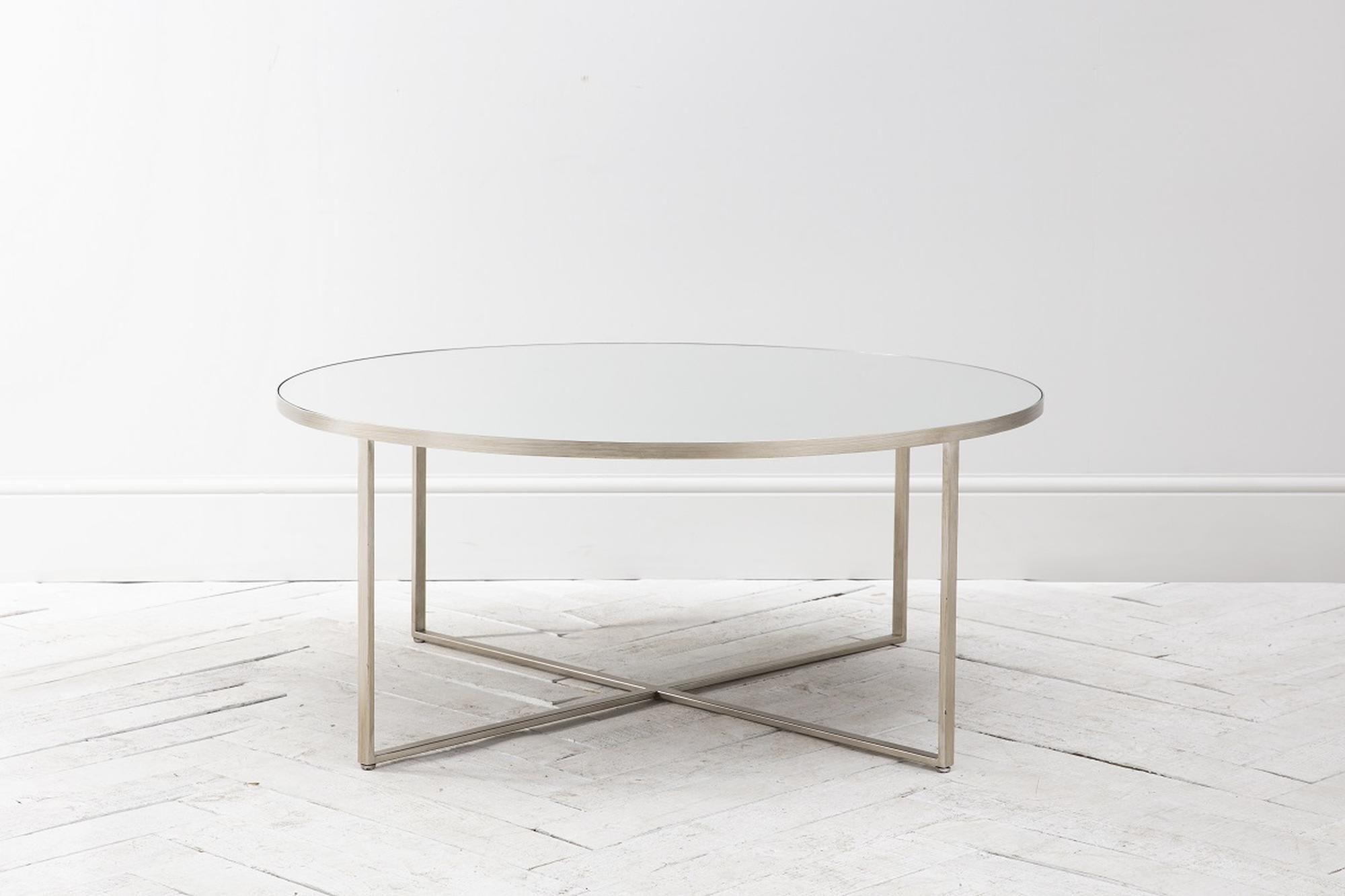 Merial Coffee Table In Brushed Nickel Table Modern Coffee