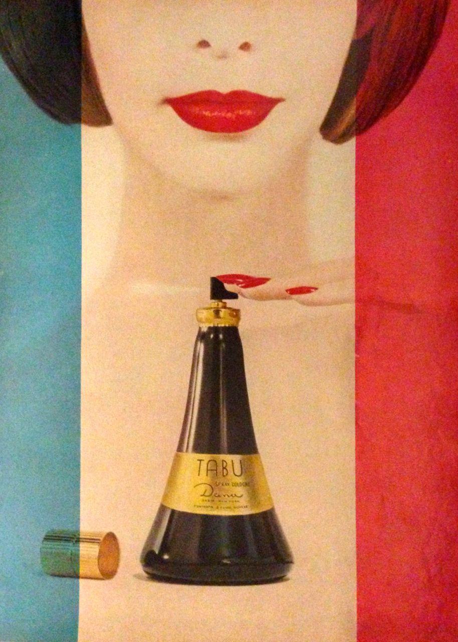 Dana 'Tabu' Cologne Ad, detail, 1962
