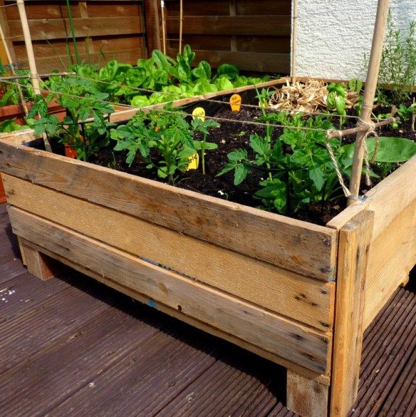 Built In Planter Ideas: Container Gardening: DIY Planter Box From Pallets