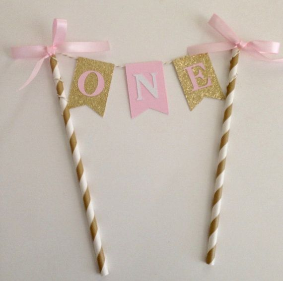 1st Birthday Pink and Gold Cake Topper Pink and Gold First Birthday