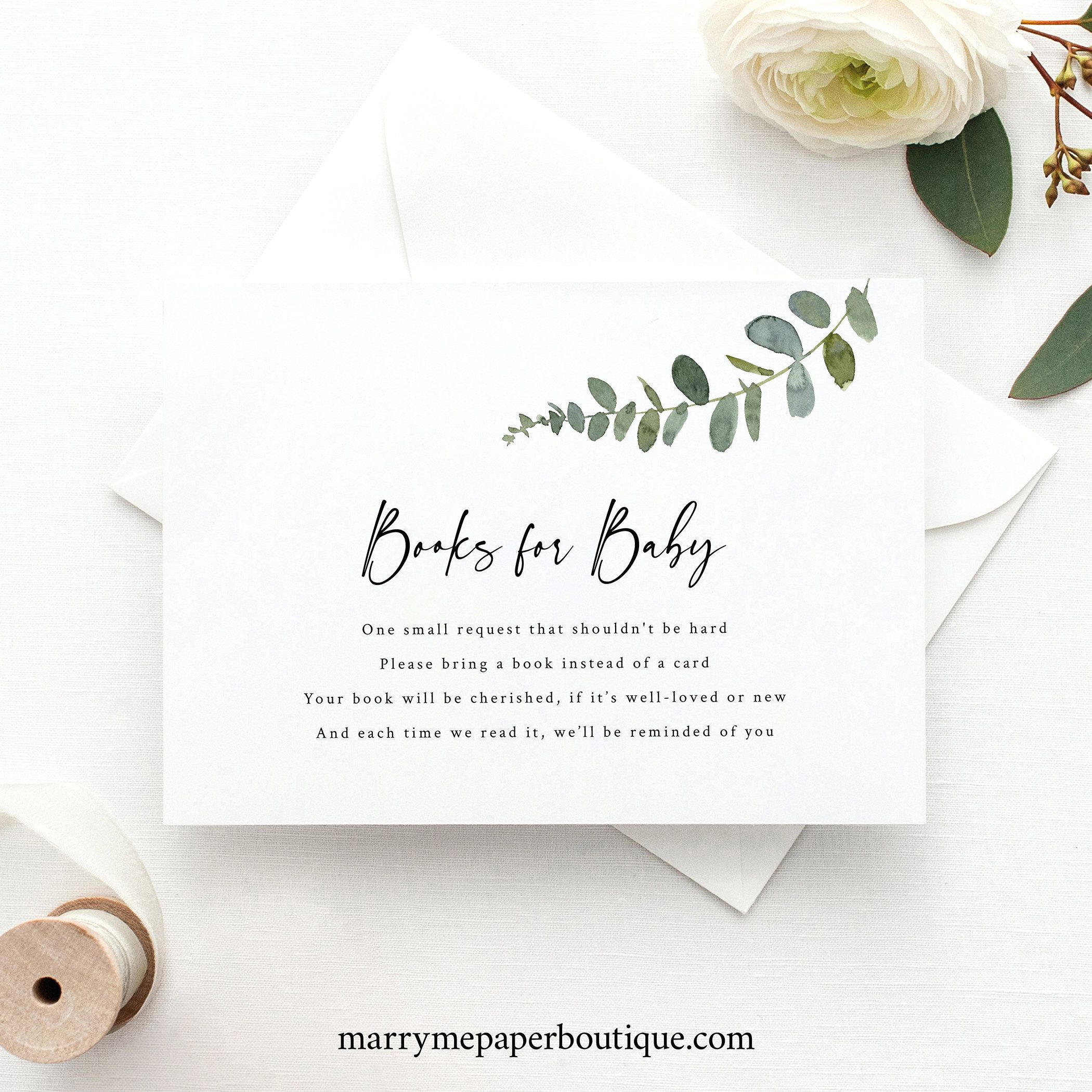 Greenery Books For Baby Template Eucalyptus Baby Shower Etsy Wedding Registry Cards Registry Cards Gift Registry Cards