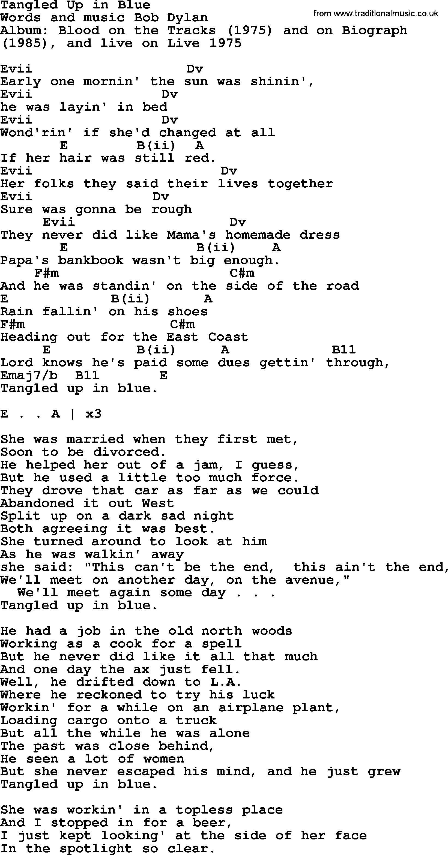 Lyrics to bob