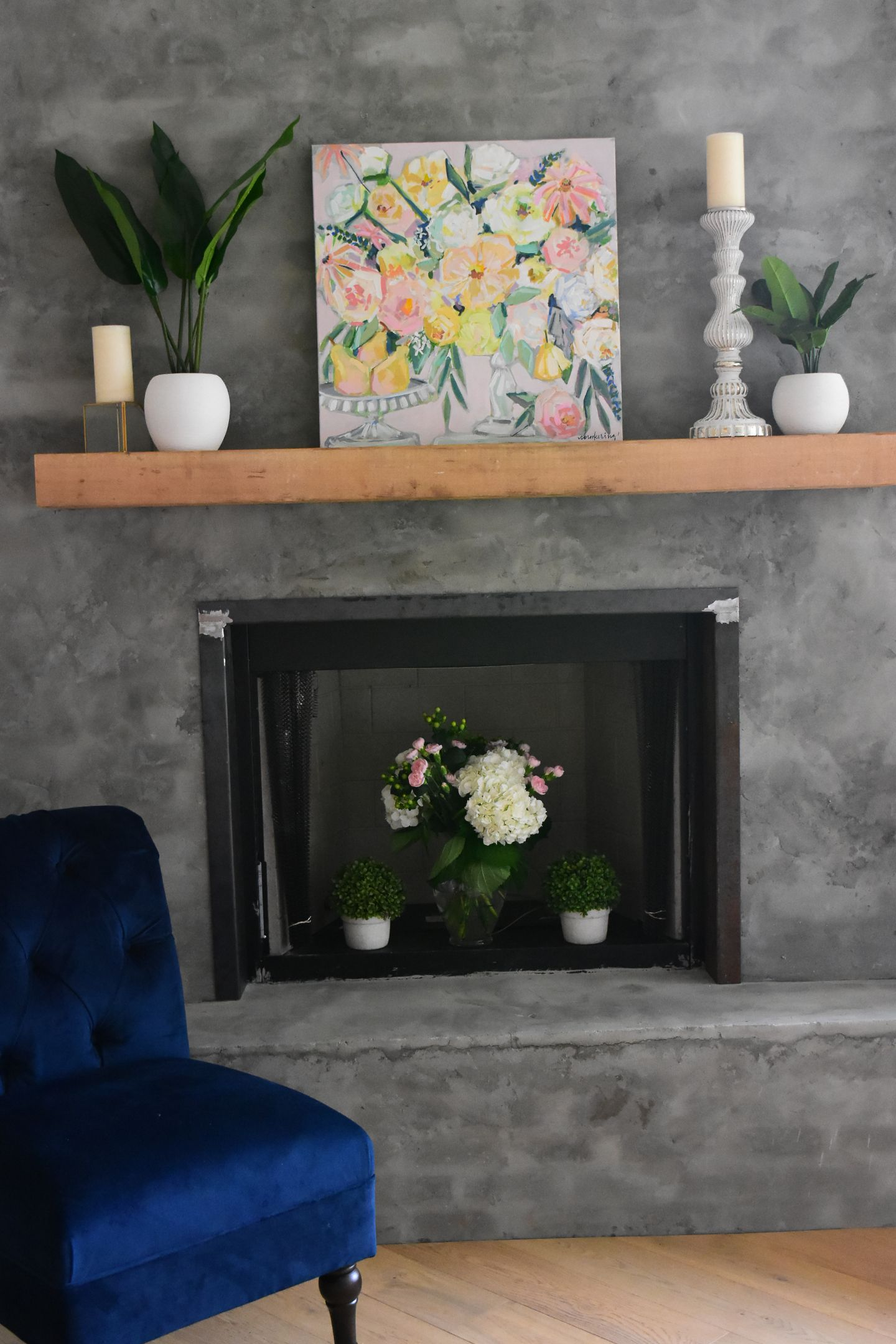 Best Bright Fruit And Floral Painting On Modern Fireplace 400 x 300
