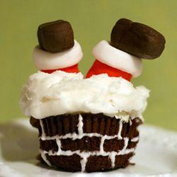Santa stuck in chimney cupcake!