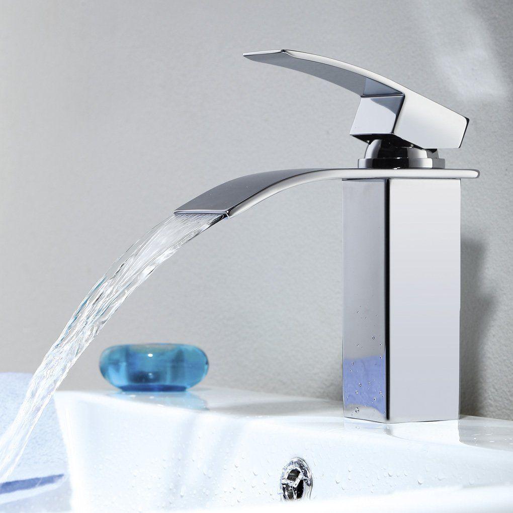 Derpras Chrom Armatur Wasserfall Wasserhahn Bad Mischbatterie Waschbecken Badarmatur Einhebelmischer Waschtischa Waschtischarmatur Armaturen Bad Wasserhahn Bad