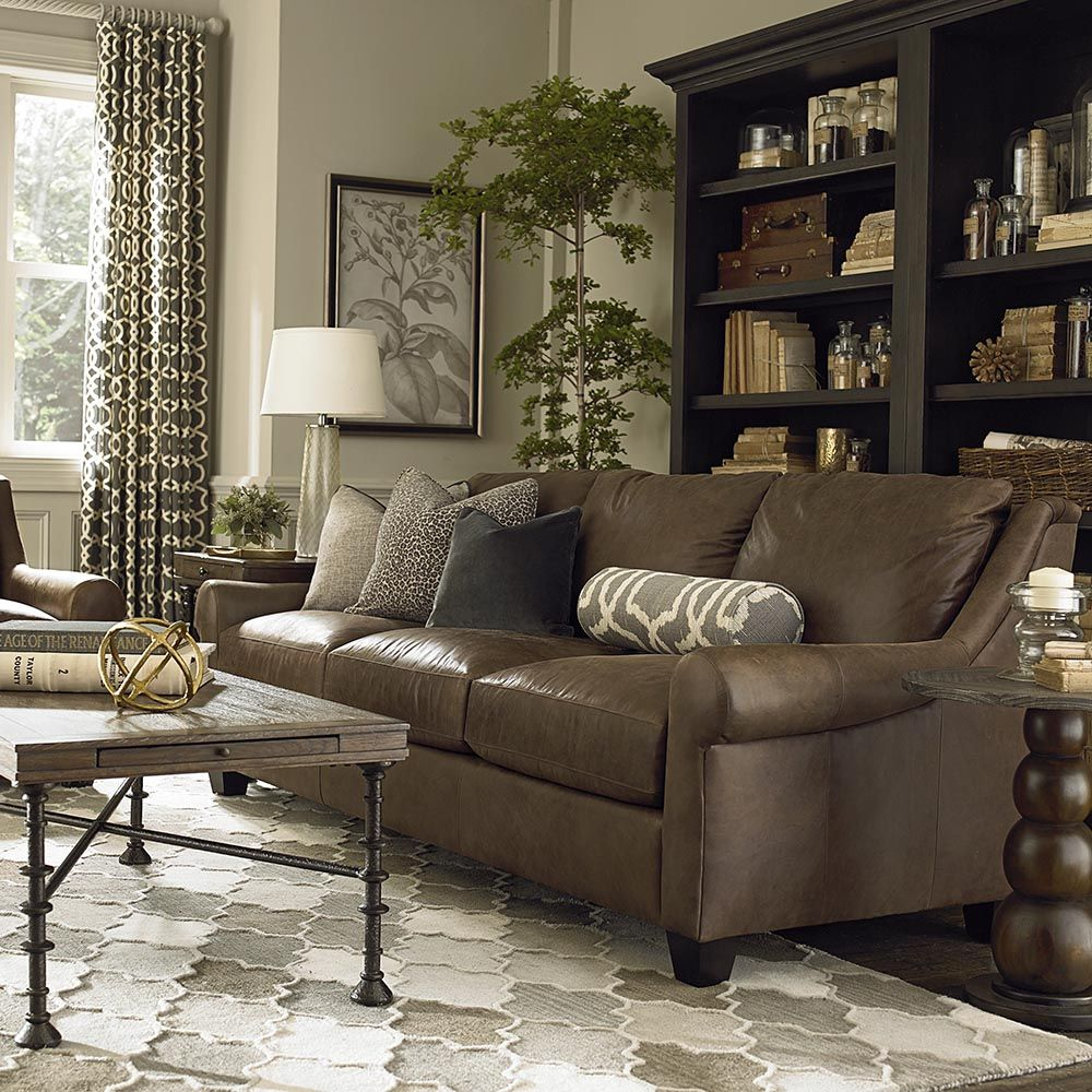Bassettu0027s American Casual Ellery Great Room Sofa Features Sloping Arms And  Semi Attached Pillow Back