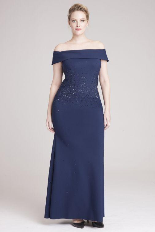 Off the Shoulder Studded Gown | Teri Jon | Modern fashion ...