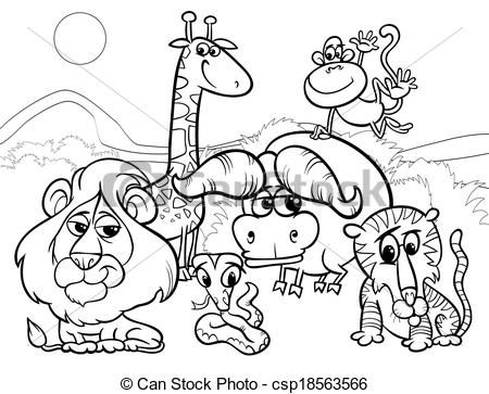 clip art vector of wild animals cartoon coloring page black and