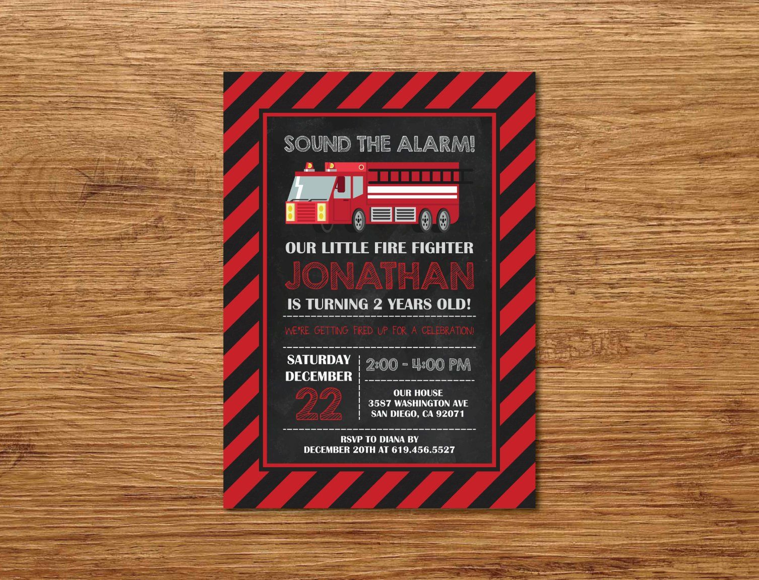 printable fire truck birthday invitation any age red black