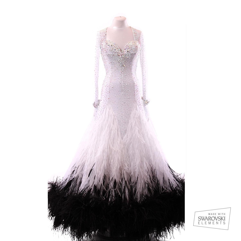 white and black feather ballroom dance dress | Latin, Ballroom ...