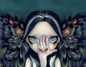 Winged Seer gothic angel fairy big eye art CANVAS PRINT