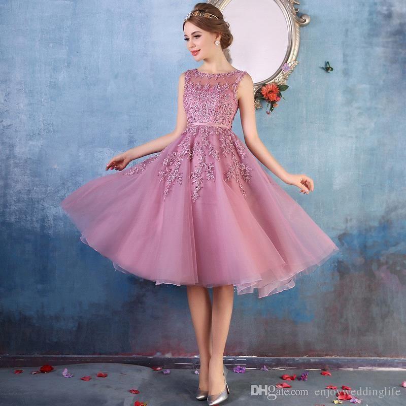 2017 nuevos vestidos de cóctel de la longitud del cordón del cuello ...