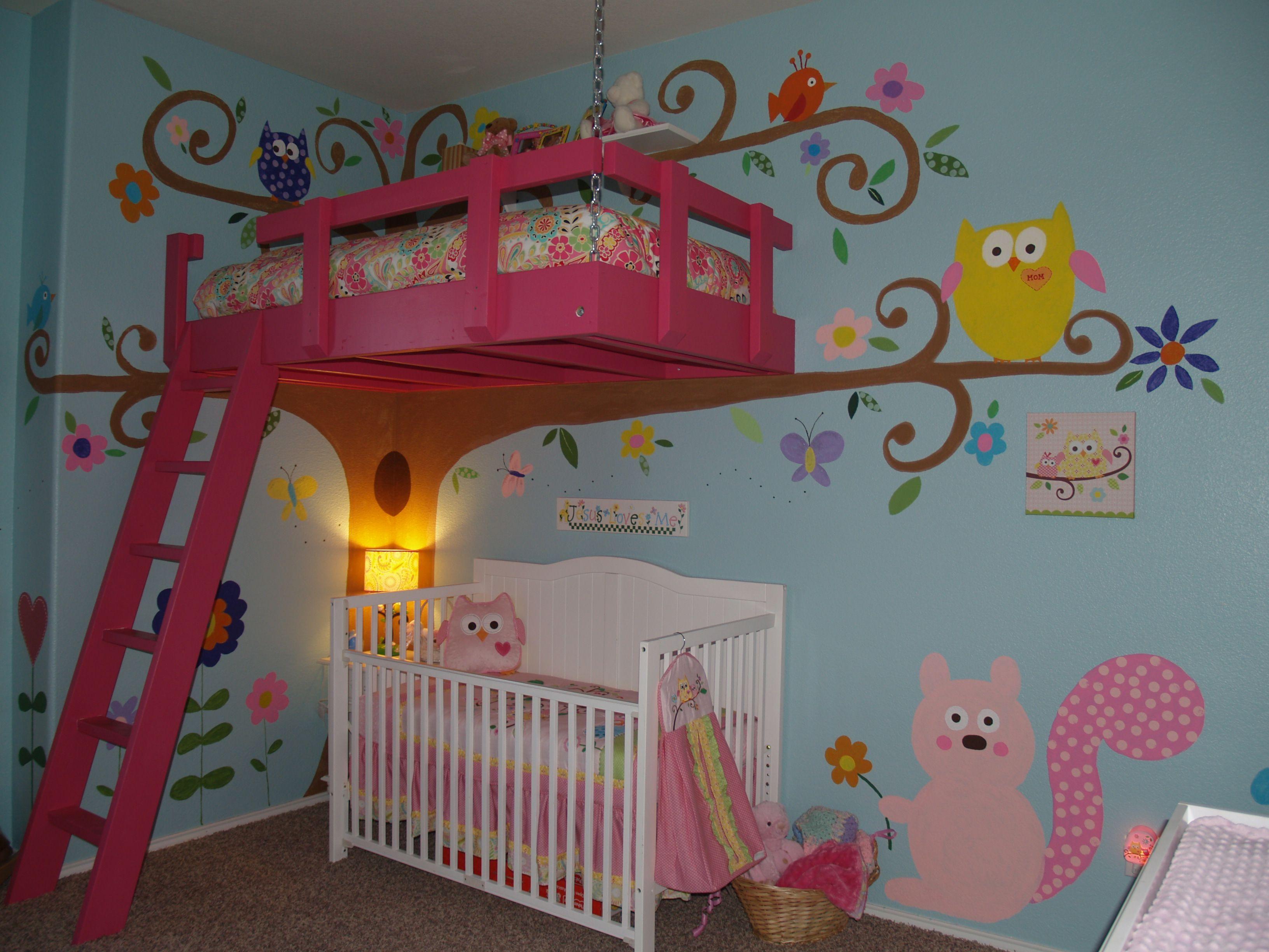 Lovely Tree House Themed Room For Girls!
