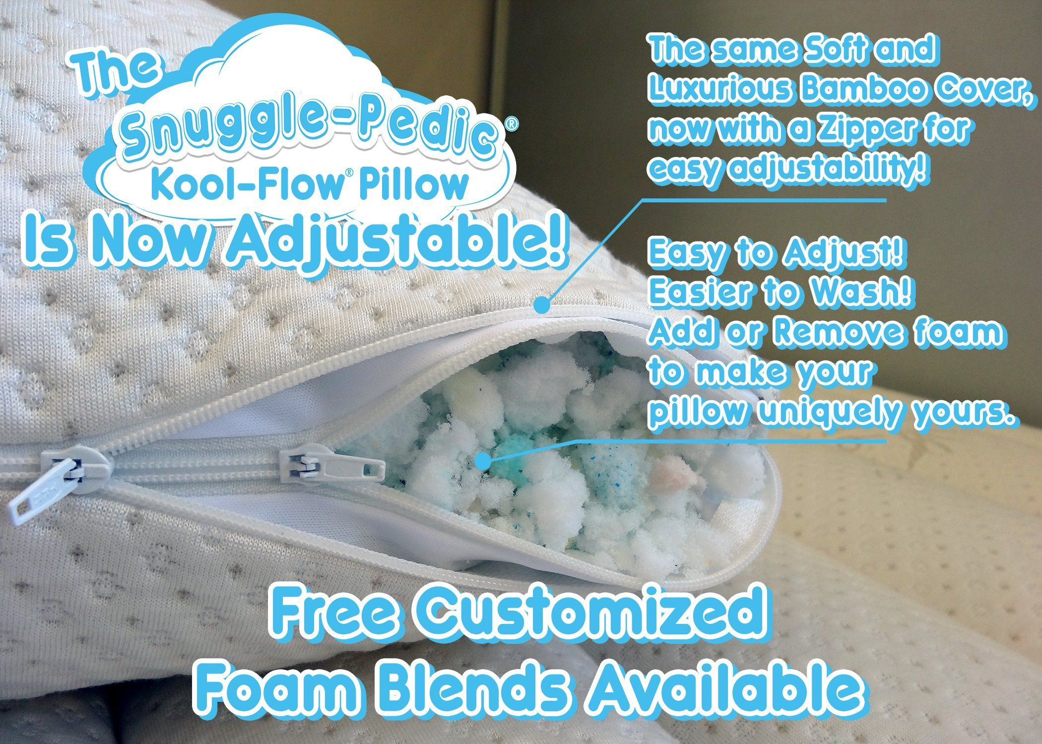 Snuggle Pedic Shredded Memory Foam Pillow w// Bamboo Ultra Luxury Cover King