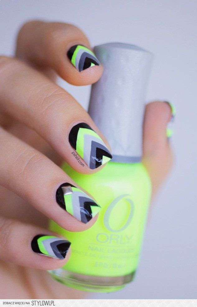 Neon green with black and gray chevron nail art | MEATBALLS BOARD ...