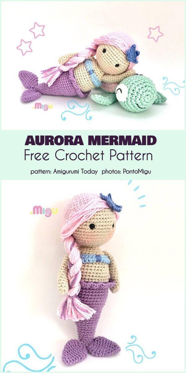 Aurora Mermaid Free Häkelanleitung #freeamigurumipattern #crochetsoftie #croche #crochetanimalpatterns