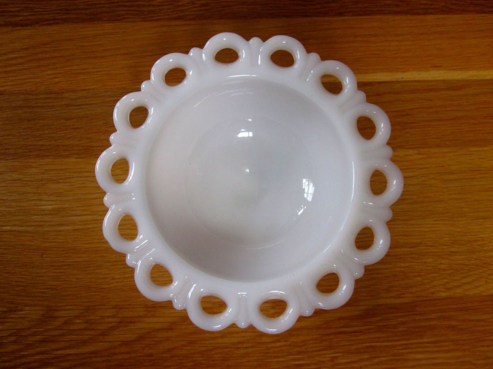 Vintage White Milk Glass Lace Pedestal Fluted Candy Dish ...