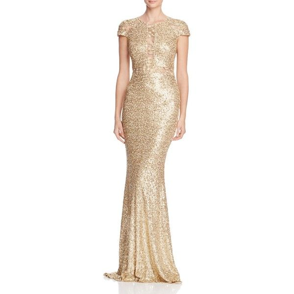 Badgley Mischka Illusion Inset Sequin Gown ($650) ❤ liked on ...