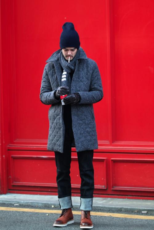 「キルティングジャケット コート 着こなし メンズ」の画像検索結果
