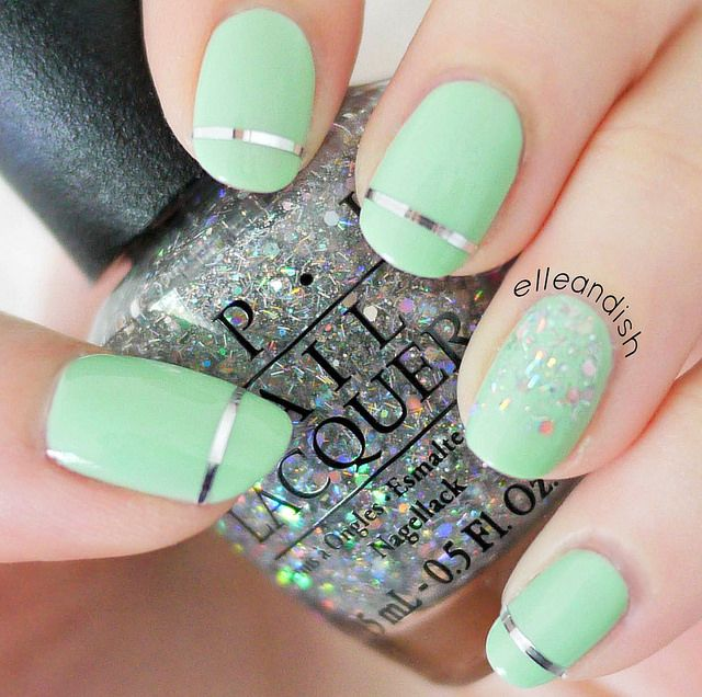 Easy Prom Nails: Simple Stripes Glitter // elleandish | Nails ...