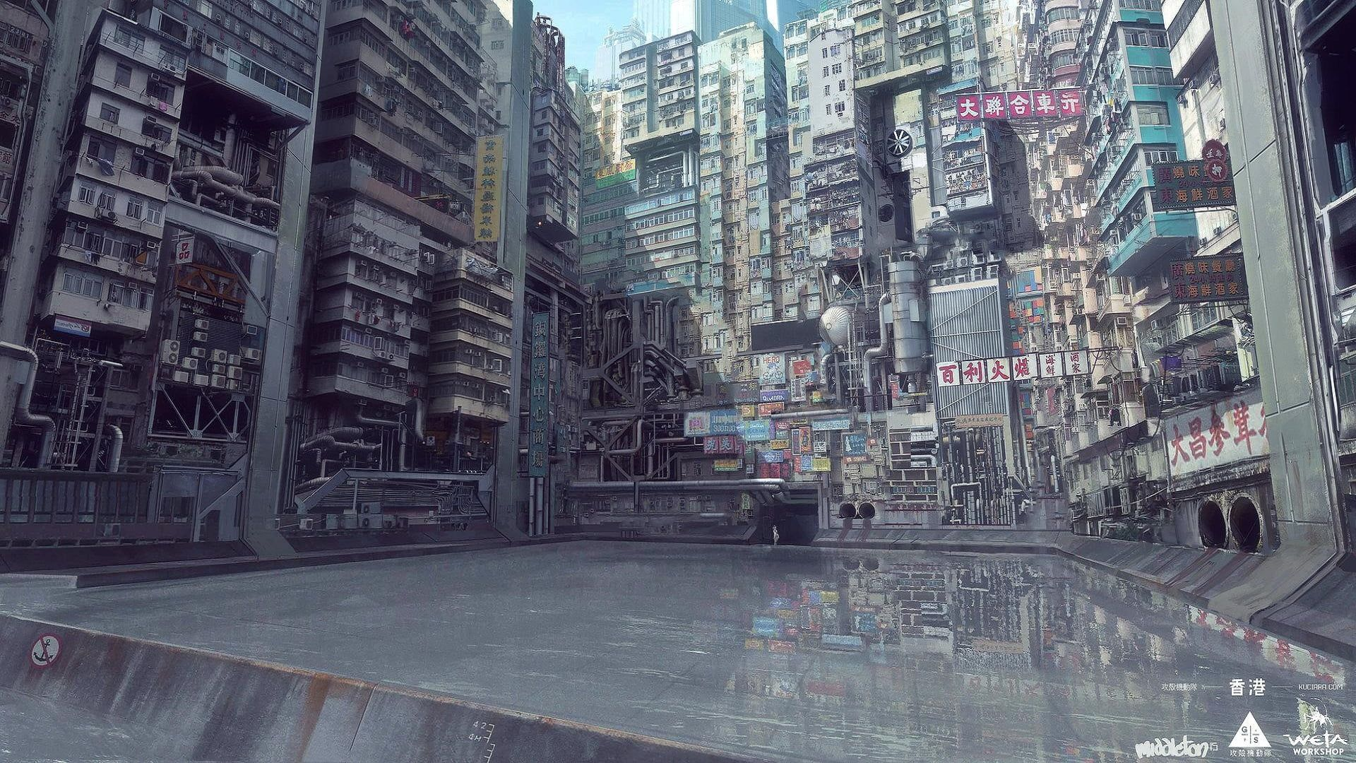 grey concrete city building wallpaper Ghost in the Shell