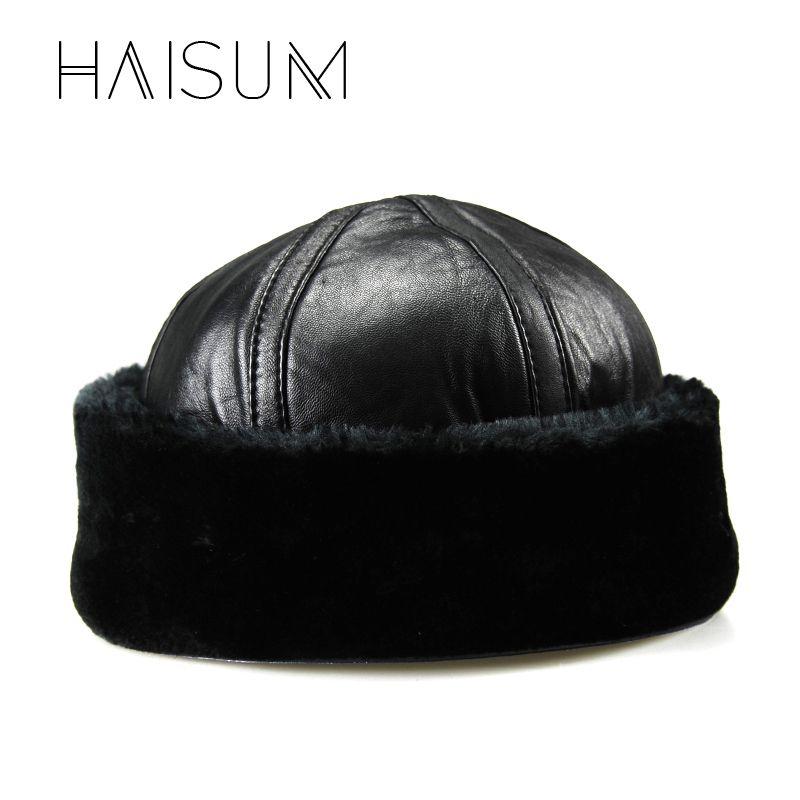 93e78309e02 Haisum New arrival Genuine Leather Men s Army Cap Hat Man Military Hats Caps  Winter Warm
