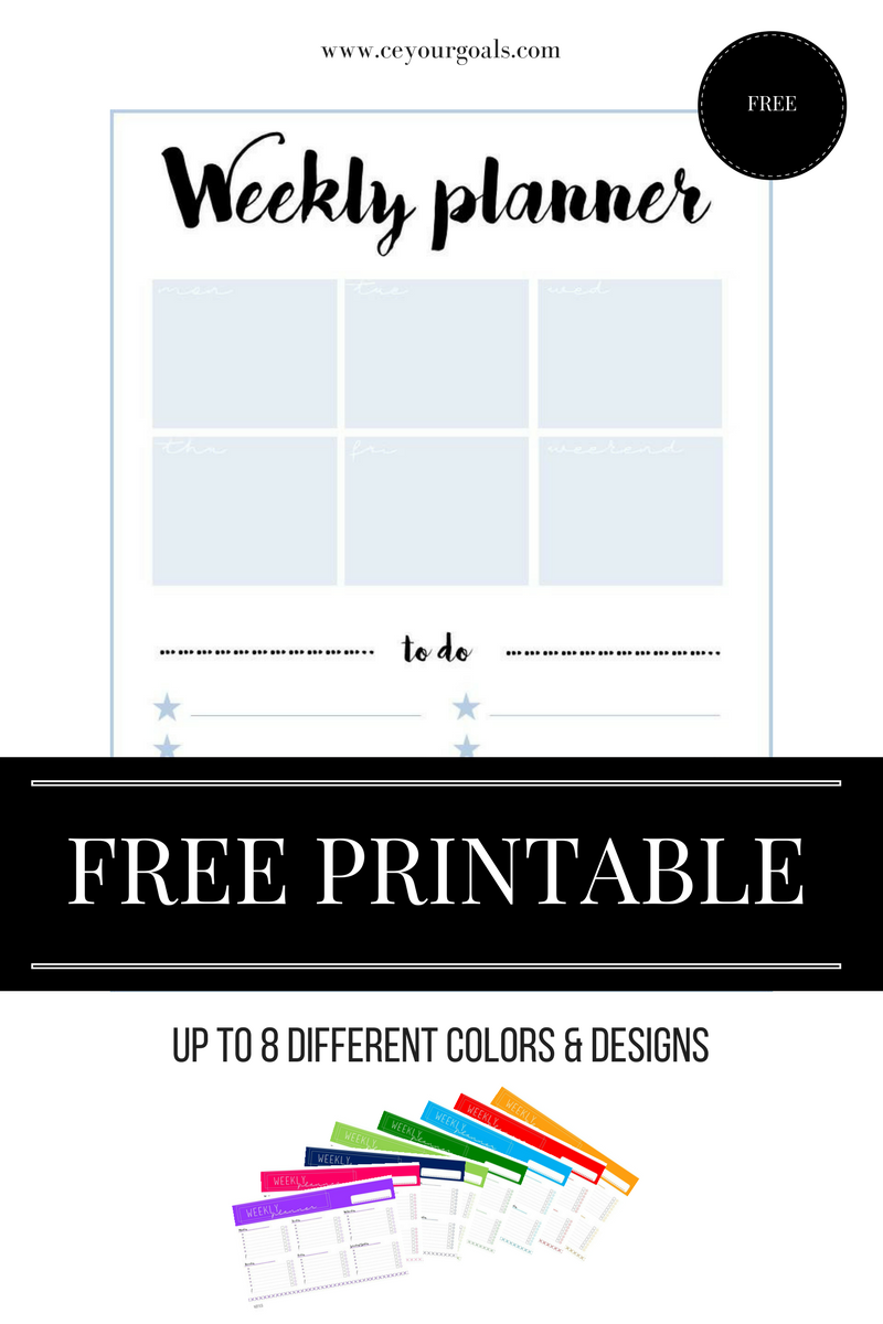 weekly planner | Weekly planner, Free printable and Planners