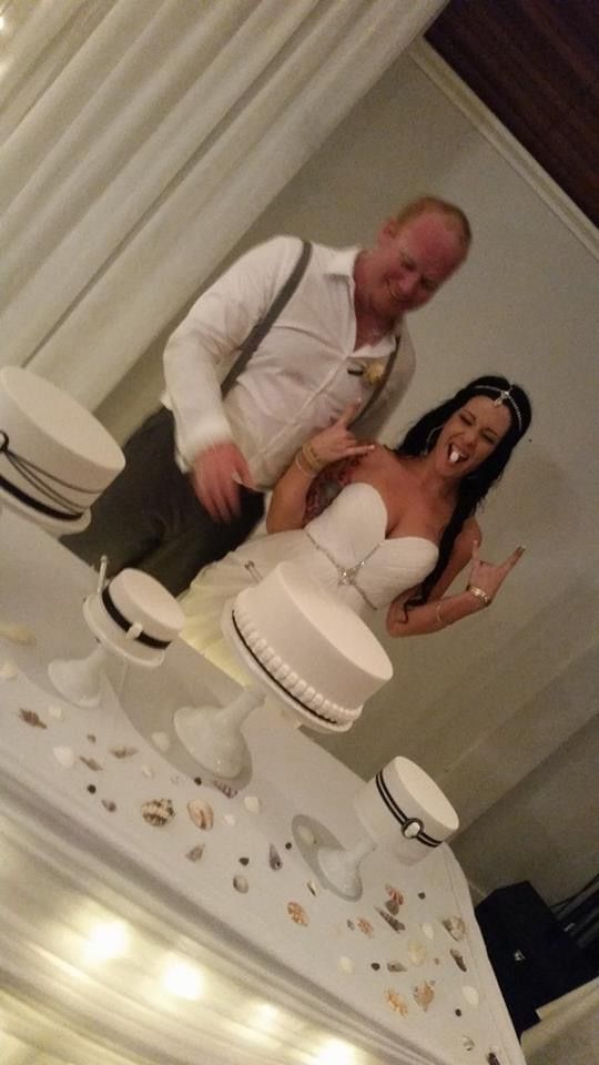 White wedding dress & cake stunning