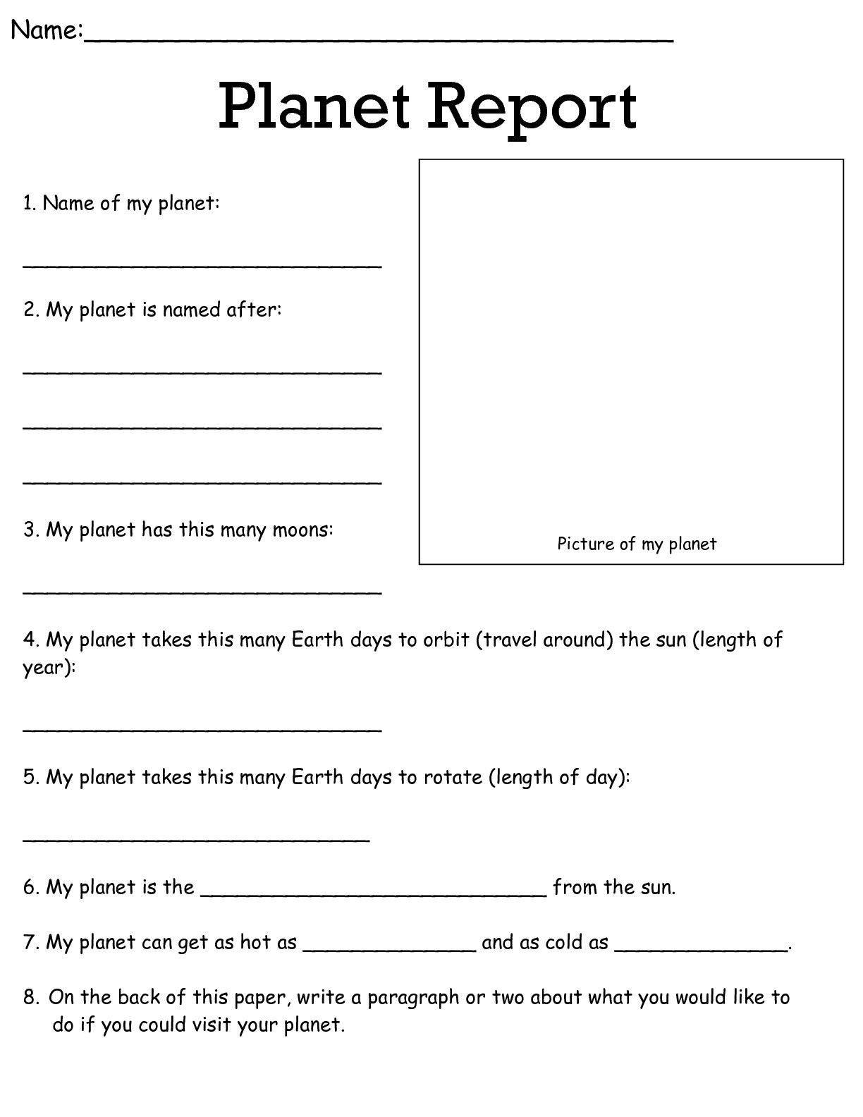 General Planets Worksheets